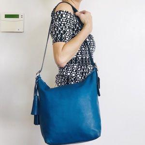 Coach Cobalt Blue Leather Bucket Crossbody Bag